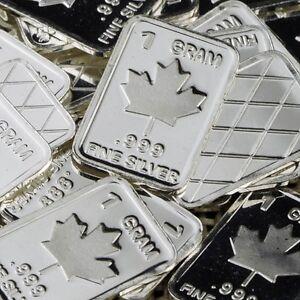 034-Maple-Leaf-034-Design-Lot-of-10-1-gram-999-Fine-silver-bullion-bar-034-NEW-034