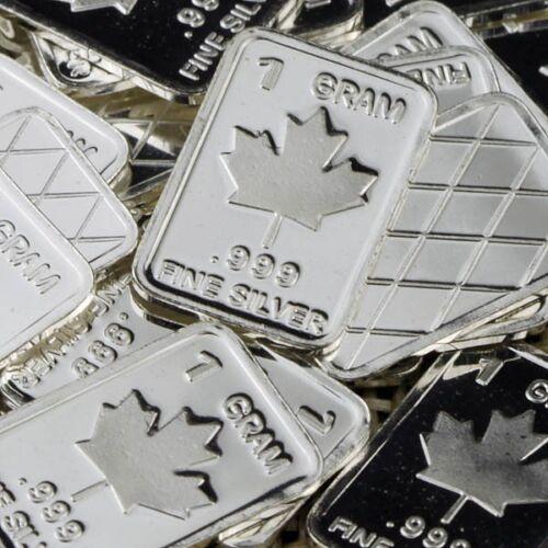 """/""""Maple Leaf/"""" Design Lot of 10 1 gram  .999 Fine silver bullion bar /""""NEW/"""""""