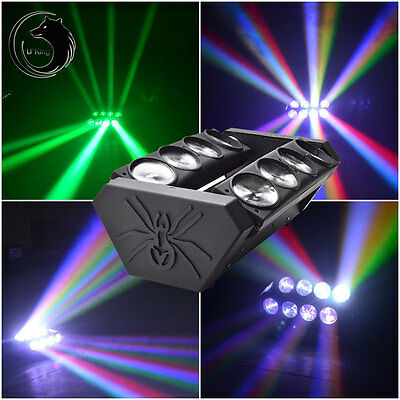 8x15W RGBW LED Spider Moving Head Light Stage Lights DJ Disco DMX512 US/EU/UK/AU