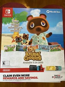 Animal Crossing New Horizons Promo Display Gamestop Poster Rare 24 X 28 Nook Ebay