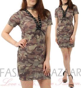 26f63c2cc Mujer Estampado Camuflaje Largo Camiseta Vestido Mini orificios ...