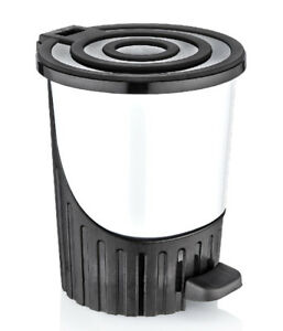 small-8Litres-WHITE-Waste-Pedal-Bin-Handy-Office-Bedroom-Kitchen-Paper-Dustbin