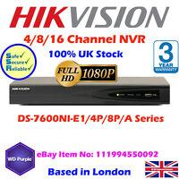 Hikvision 4/816 Ch Nvr 1080p Hd Cctv Recorder 2,3,4,6mp , 4/8 Poe 5mp Hdmi Vga