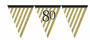 12ft-BLACK-amp-GOLD-PARTY-80-BIRTHDAY-FLAG-BUNTING-80th-ADULTS-NEW-DECORATION