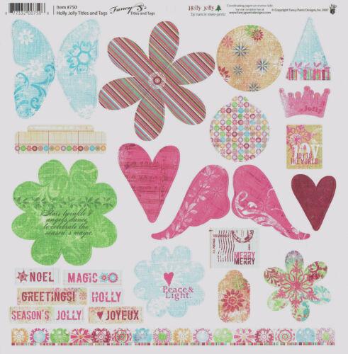 Fancy Pants 12x12 Die Cut cartonné balises//Panneaux//formes Sweet Pea//crush//Noël
