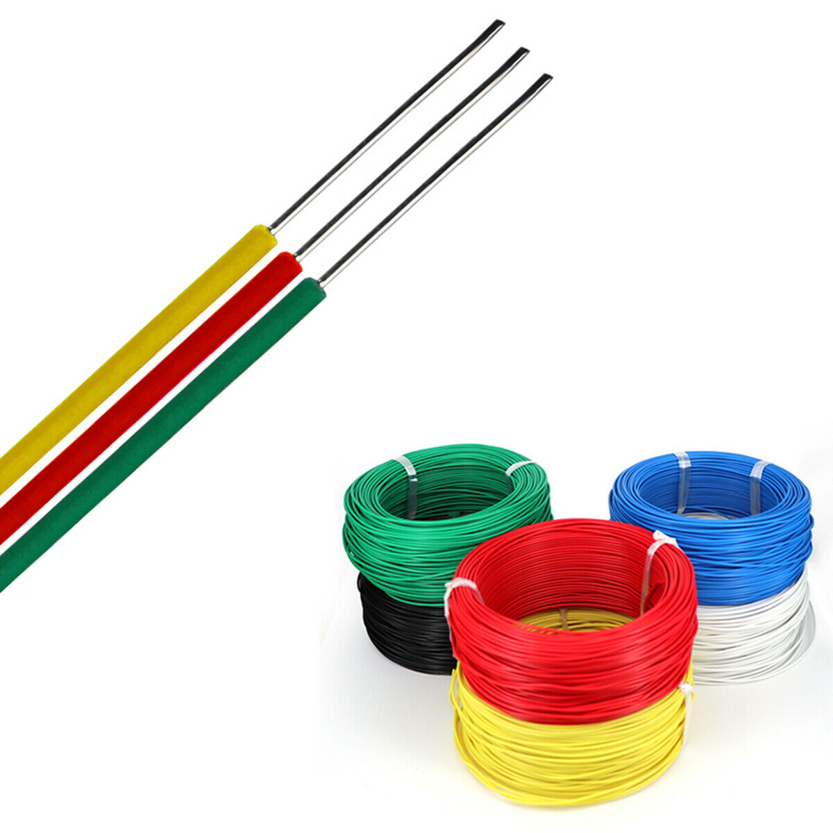 Silicone Wire Cable 0.75mm to 35mm With Glass Fibre Braided Sleeve Choose Colour