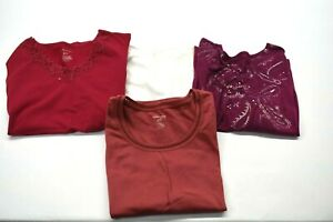 Lot-of-4-White-Stag-Women-XL-Spring-Summer-Lace-Beaded-Shirt-Top-Tank-Pink-White