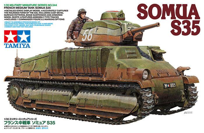 Tamiya 1 35 French Medium Tank SOMUA S35 Plastic Model Kit