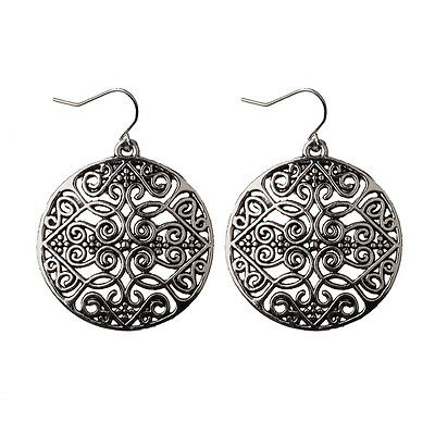 Women Vintage Bohemian Boho Style Hollow Carved Round Gold/Silver Hook Earrings