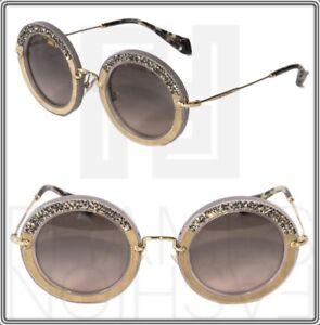 b30019b590b8 MIU MIU NOIR Crystal MU 08R Argil Suede Grey Gold Round Sunglasses ...