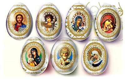 Pack of 7 Madonna & Child Christ Icons Decorative Egg Wraps for Easter Decor