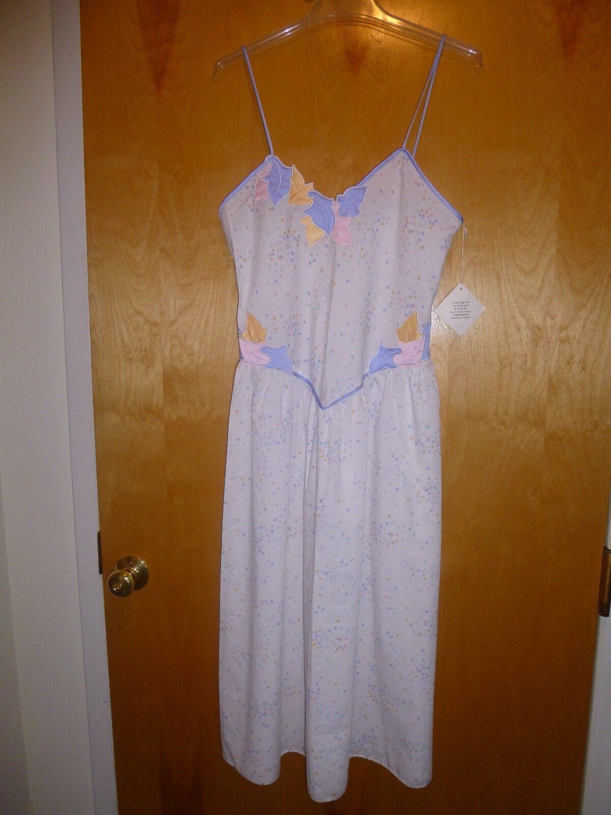 NWT Natori APPLIQUED Cotton JORDAN MARSH Spaghetti Strap Long Night Gown M