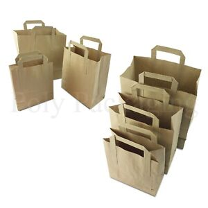 BROWN PAPER CARRIER BAGS *All Sizes/Any Qty* with HANDLES Party/Gift/Takeaway