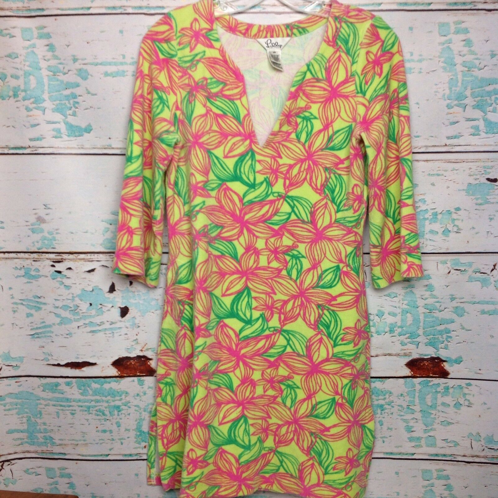 Vintage Lilly Pulitzer Rosa Floral Terry Tunic Top XS Extra Small Pool Cover Up