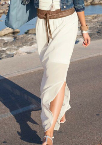 Aniston Chiffon Rock 44 Damen Lang Maxirock Natur Offwhite Weiß Creme Modern NEU