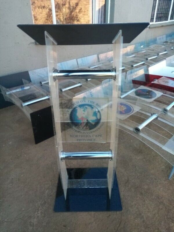Clear Acrylic Pulpits With Different Colour Tops & Bases