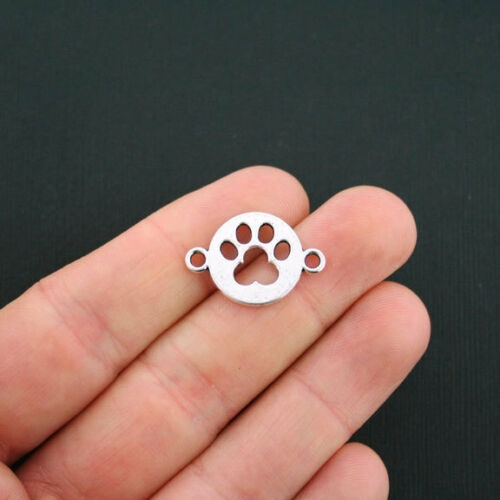 SC1107 10 Dog Paw Connector Charms Antique Silver Tone 2 Sided