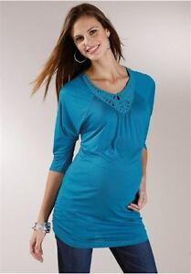 Neun-Monate-Camicia-moda-per-la-gravidanza-TOP-TGL-40-42-44-46-PETROLIO-NUOVO