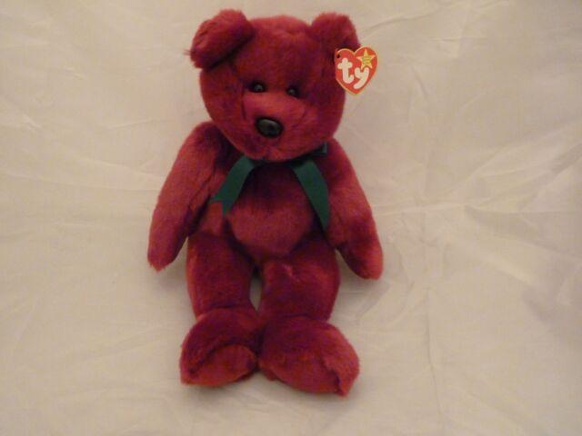 1998 Original Beanie Buddies TEDDY Plush Violet Bear w Green Bow w tags ( 46f831ecf490