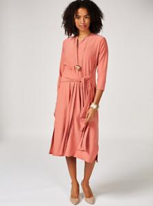 MarlaWynne Matte Jersey Front Tie Dress Rosa XS