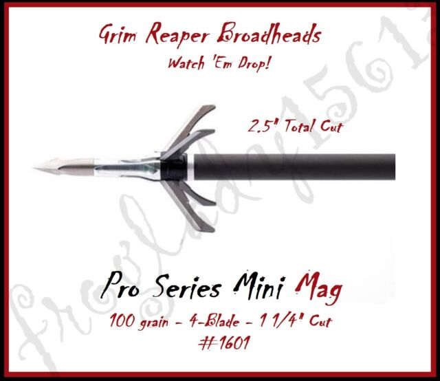"GRIM REAPER Pro Series Mini Mag 100gr, 4-Blade ,1 1/4"" Cut Broadheads - 4Pk 1601"