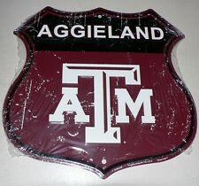 "Texas A & M Aggies ""Aggieland"" SHIELD Sign GAME DORM ROOM DEN Football Man Cave"