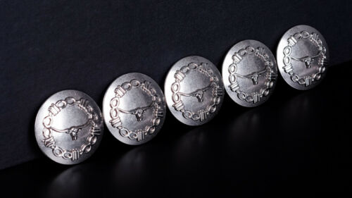 6PC Western Longhorn barbelés RODEO Leather Craft Silver Conchos Screwback