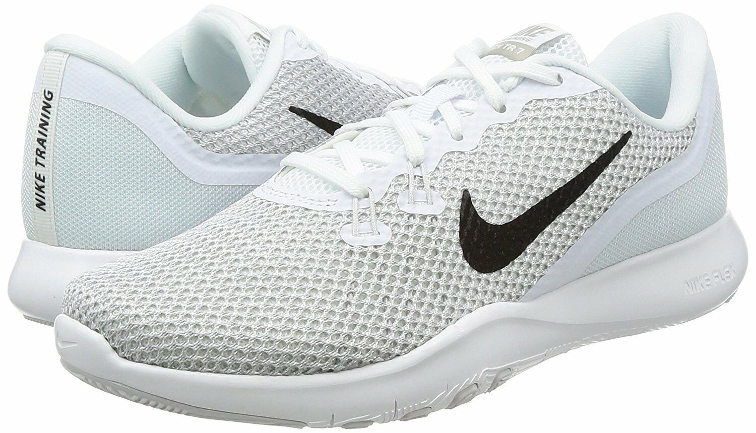 NIKE Women's Flex 7 Cross Trainer White/Metallic Silver-Pure Platinum 10.5 (B/M)