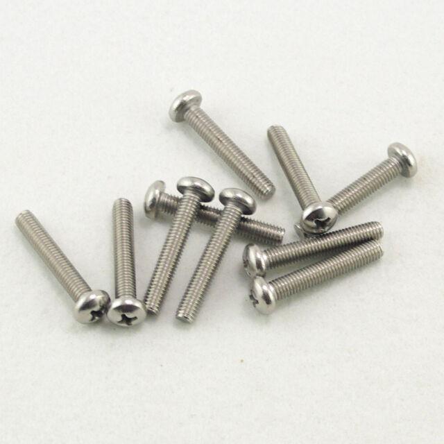 25pcs Metric M6x50mm 304 Stainless Steel Cross Recessed Phillips Pan Head Screws