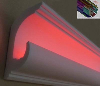 "Stuckleiste Stuckprofil Zierprofil LED Beleuchtung 10Meter+2 Innenecken ""Freddy"""