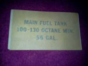NEW PIPER FUEL QUANTITY & QUALITY PLACARD P/N 33981-002 (456-435)