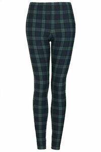 PETITE-Topshop-Black-Watch-Green-Tartan-Leggings-UK-SIZE-4