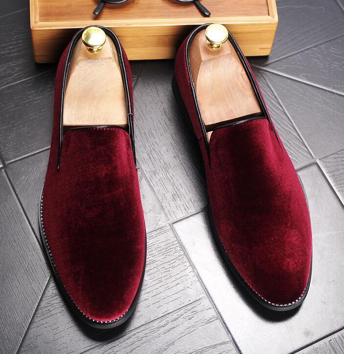 Mens Pointed Toe Velvet Loafers Casual Dress Formal Business Slip On shoes Black