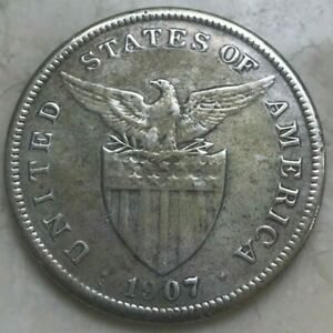1907 S Philippines 1 One Peso - Big Silver - Cleaned