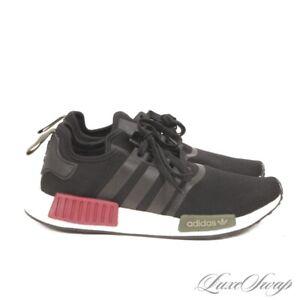 Adidas BB7791 Black NMD R1 Black Burgundy Green Lightweight Sneakers Shoes 10.5