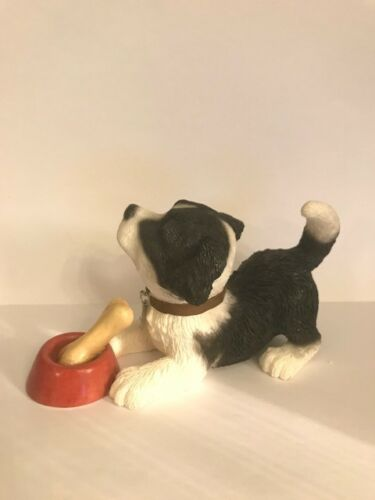 Give The Dog A Bone Border Collie Pup with Bone By Leonardo Collection BNIB