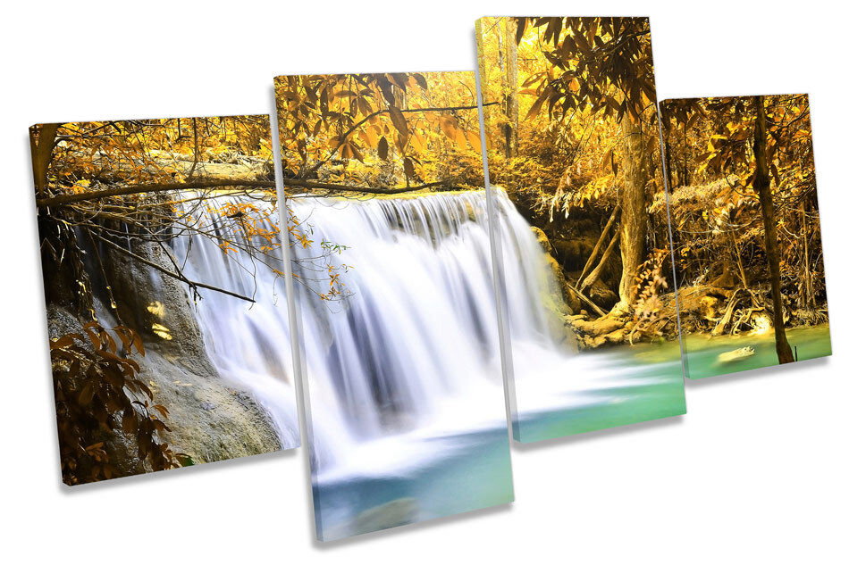 Forest Waterfall Sunset Landscape MULTI CANVAS WALL ART Picture Print
