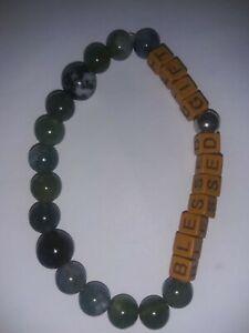 Handmade-Healing-Personalised-034-BLESSED-GIFT-034-NATURAL-GEMSTONE-BEADED-BRACELET