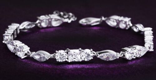 Solid 925 Sterling Silver Tennis Bracelet With Multi Shape Simulated Diamonds
