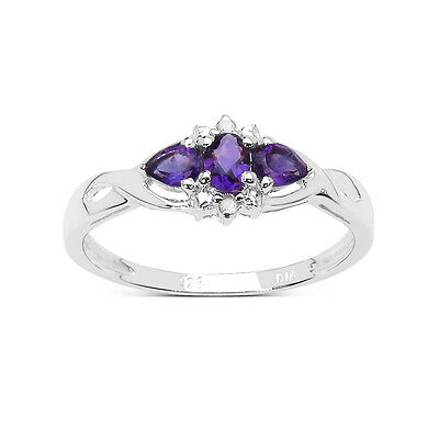 Sterling Silver 0.77ct Amethyst /& Diamond Eternity Engagement Ring Size J to W