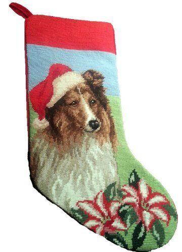 Shetland Sheepdog Sheltie Dog Needlepoint Christmas Stocking