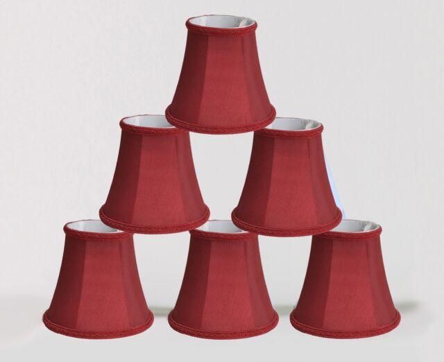Urbanest Chandelier Mini Lamp Shades 5 Bell Silk Burgundy Braid Trim