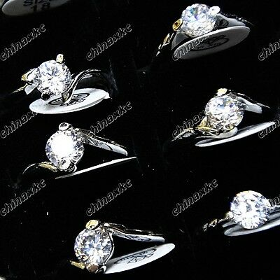 Wholesale Jewelry Lots 10pcs Silver P Cubic Zircon Mix Style Rings Freeshipping