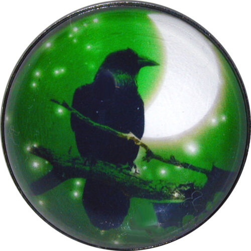 """1 /"""" Halloween Crystal Dome Button Raven w Crescent Moon /& Stars HW2-03"""