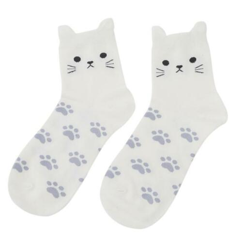 Women Girls Sweet Casual Cotton Socks Candy Color Small Ears Cat Comfort Sock T