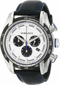Versace-Men-039-s-VDB010014-V-Ray-Stainless-Steel-Watch-with-Black-Leather-Band