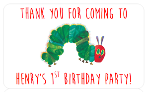 HUNGRY CATERPILLAR BIRTHDAY PARTY STICKERS BABY SHOWER 1ST CHRISTENING