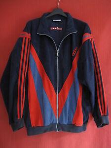 Détails sur Veste Adidas années 80 Vintage velour Marine et rouge 80'S jacket 186 XL