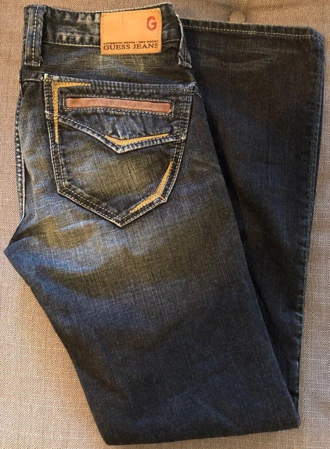 LN GUESS Rhodes Straight Leg Designer Zip 100% Cotton Denim Jeans 30 X 32 30X32
