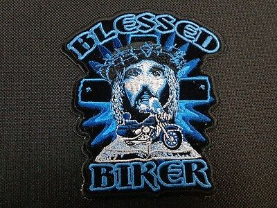 BLESSED BIKER RELIGIOUS SAYING EMBROIDERED PATCH